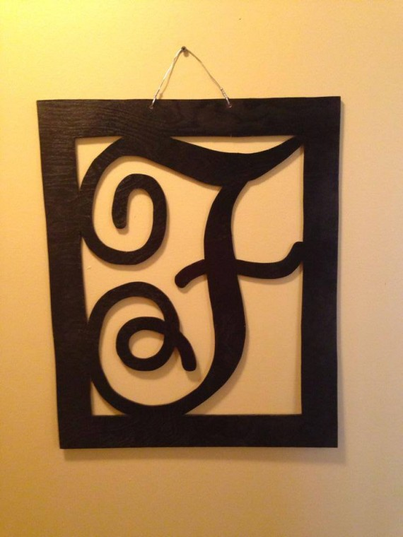 Framed Initial Door Hanger